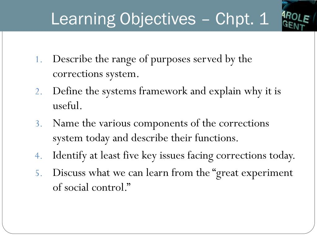 Learning Objectives – Chpt. 1