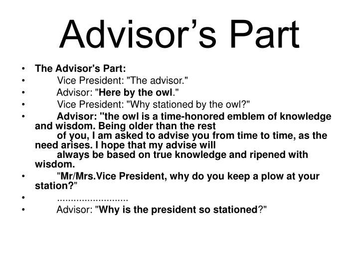 Advisor's Part