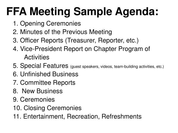 FFA Meeting Sample Agenda: