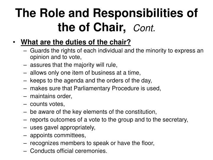 The Role and Responsibilities of the of Chair,