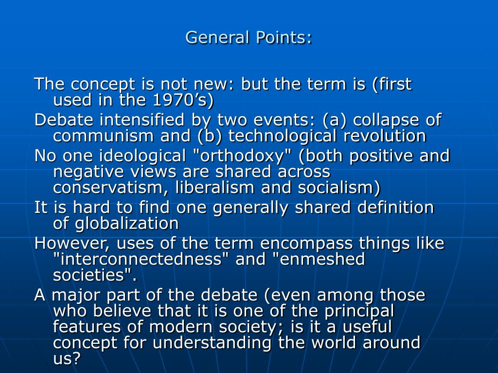 General Points:
