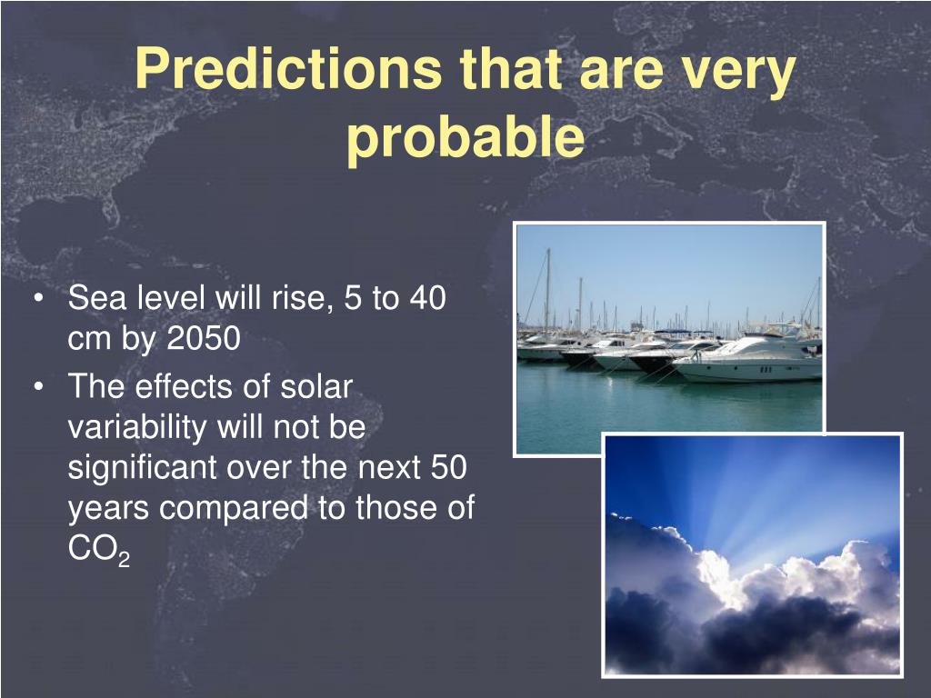 Sea level will rise, 5 to 40 cm by 2050