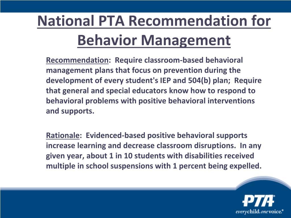 National PTA Recommendation for Behavior Management