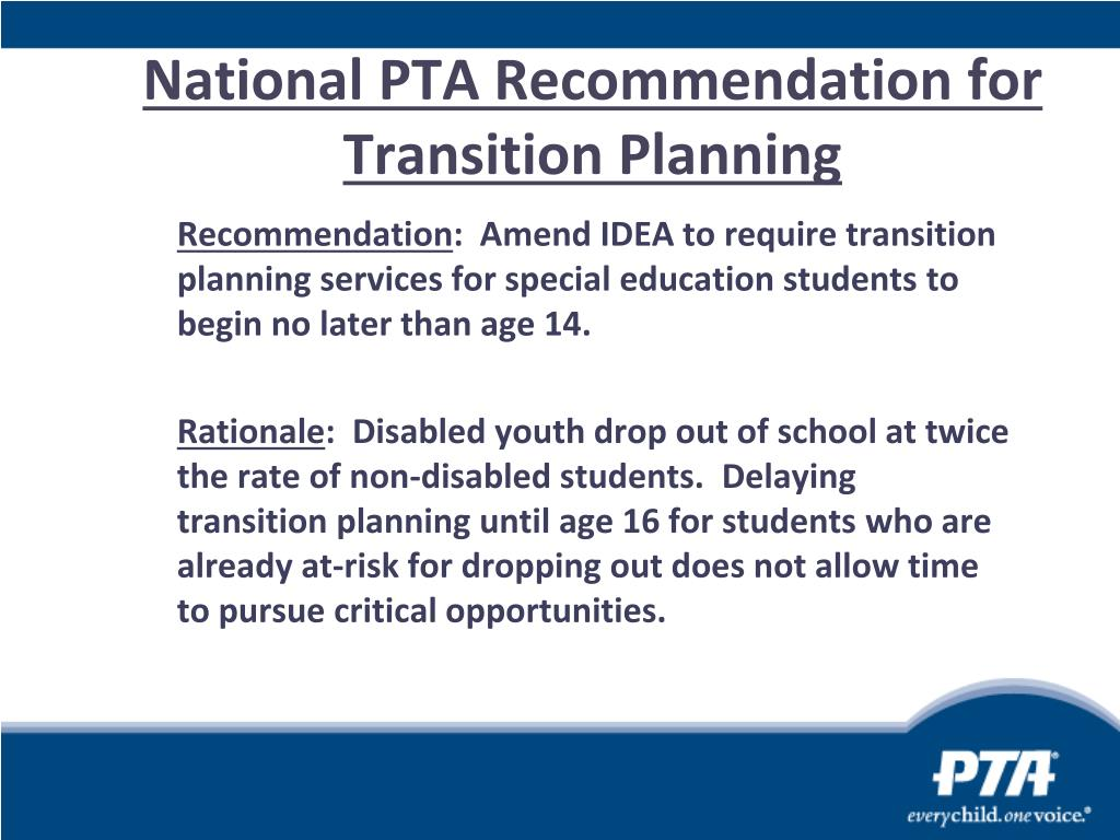 National PTA Recommendation for Transition Planning