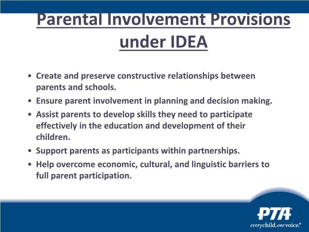 Parental Involvement Provisions under IDEA