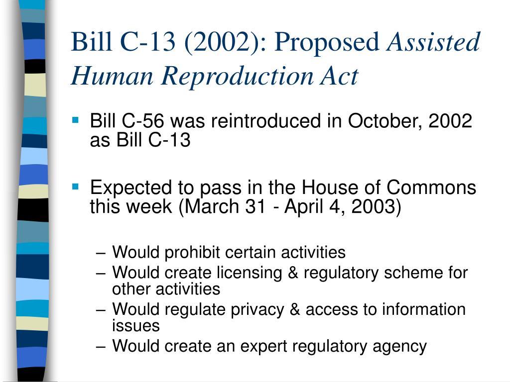 Bill C-13 (2002): Proposed