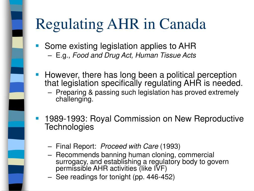 Regulating AHR in Canada