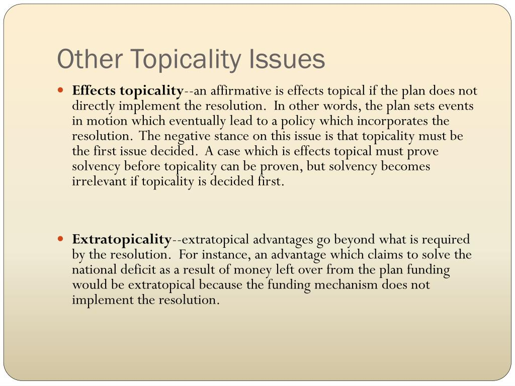 Other Topicality Issues