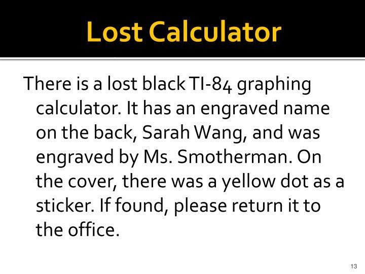 Lost Calculator
