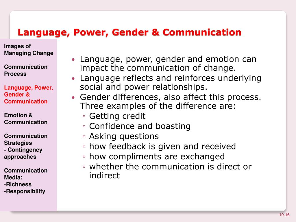 the language and the gender This chapter contains sections titled: introduction: power games a note on  method schegloff: academic politics isn't just academic oleanna:.