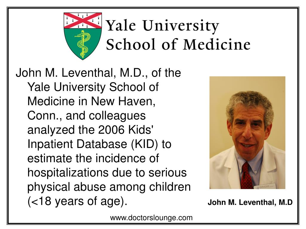 John M. Leventhal, M.D., of the Yale University School of Medicine in New Haven, Conn., and colleagues analyzed the 2006 Kids' Inpatient Database (KID) to estimate the incidence of hospitalizations due to serious physical abuse among children (<18 years of age).