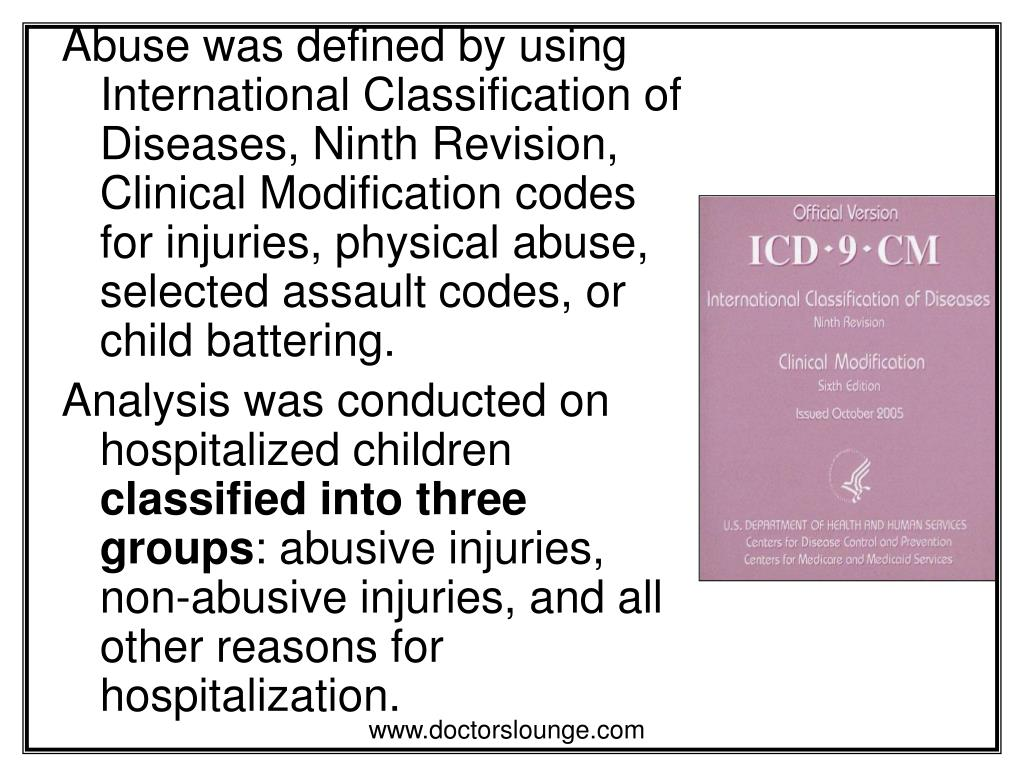 Abuse was defined by using International Classification of Diseases, Ninth Revision, Clinical Modification codes for injuries, physical abuse, selected assault codes, or child battering.