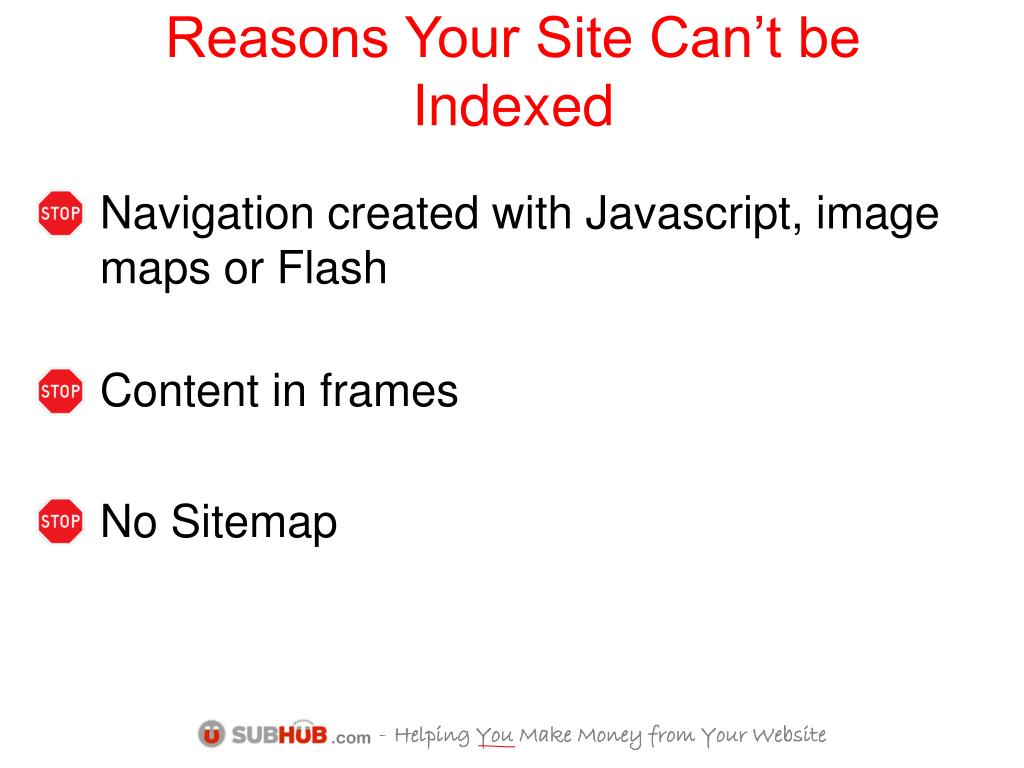 Reasons Your Site Can't be Indexed