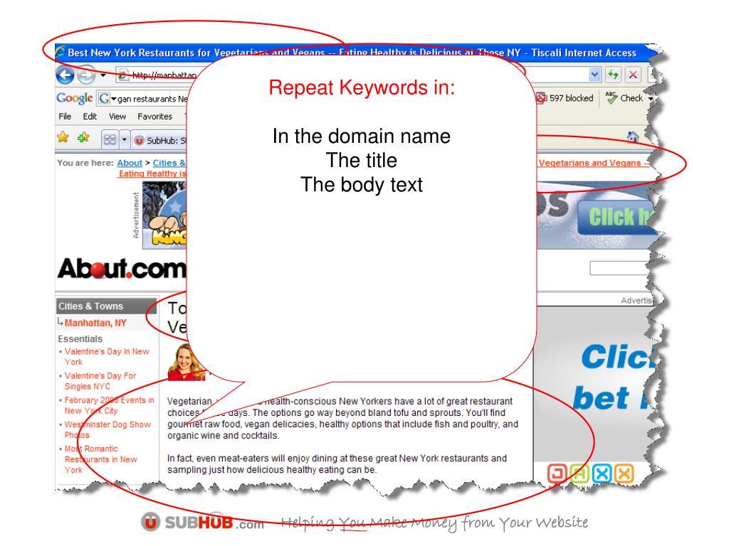 Repeat Keywords in: