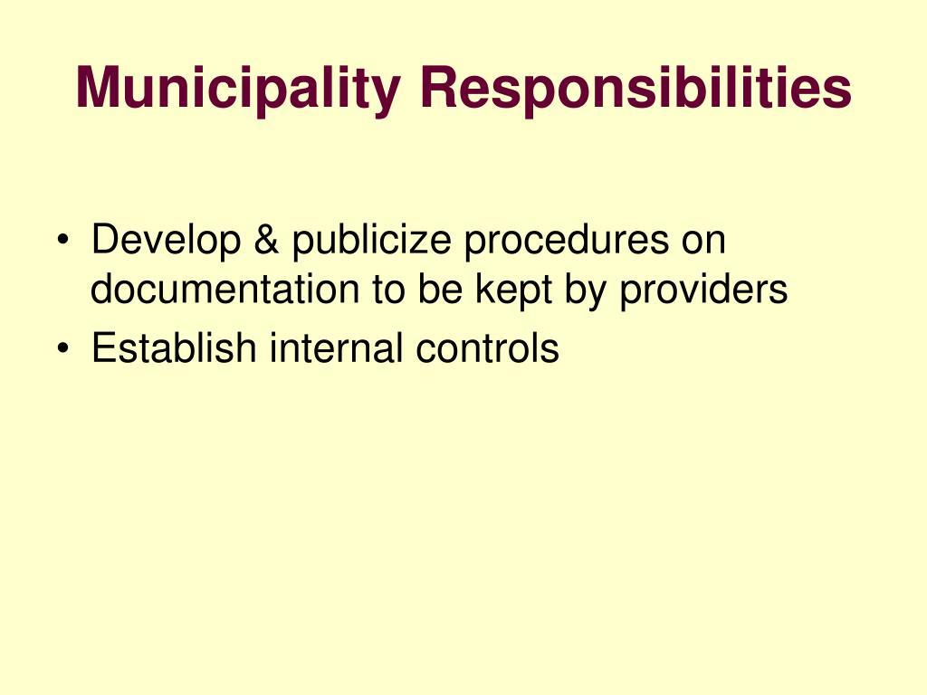 Municipality Responsibilities
