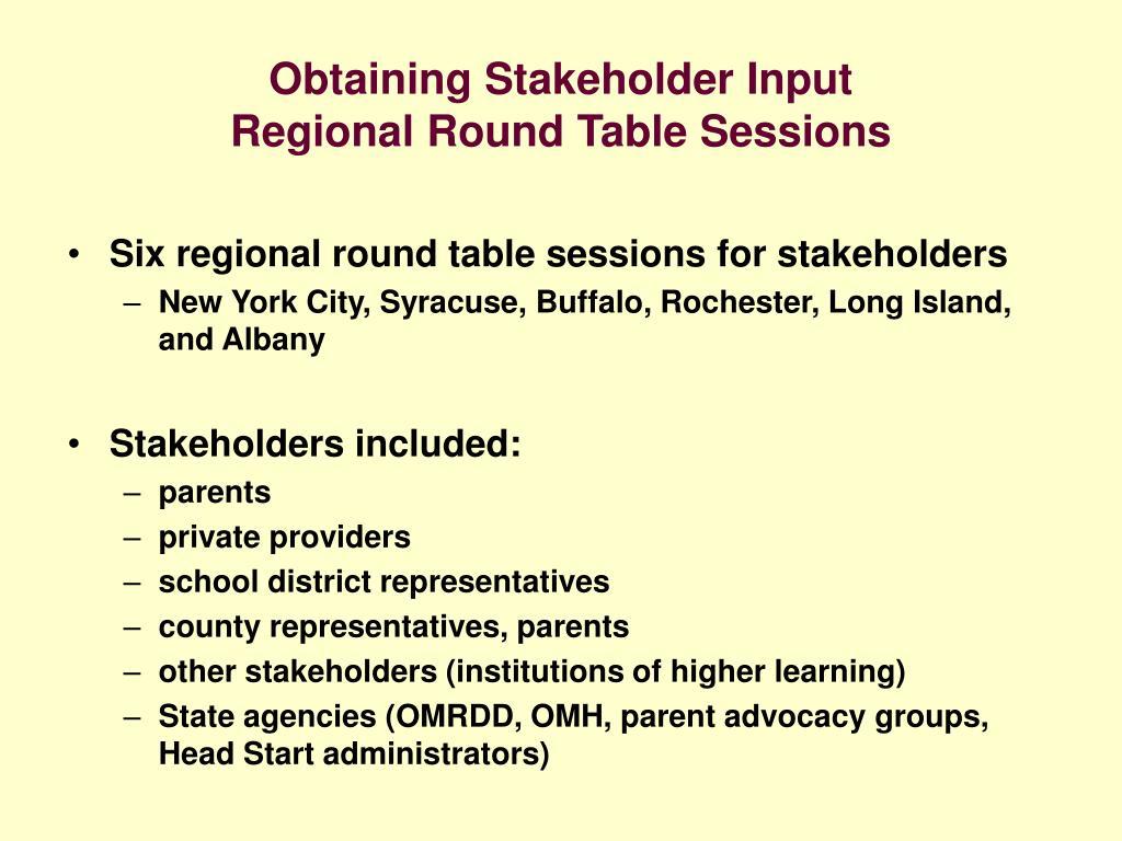 Obtaining Stakeholder Input