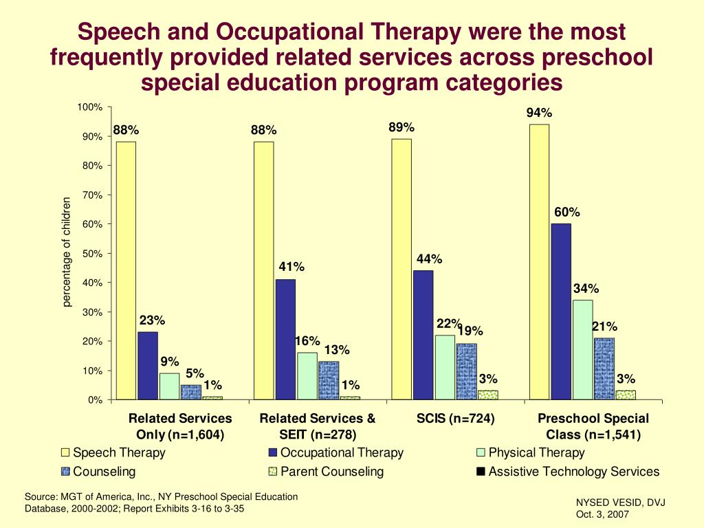 Speech and Occupational Therapy were the most frequently provided related services across preschool special education program categories