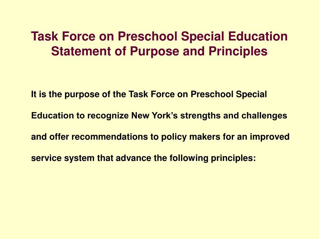 Task Force on Preschool Special Education