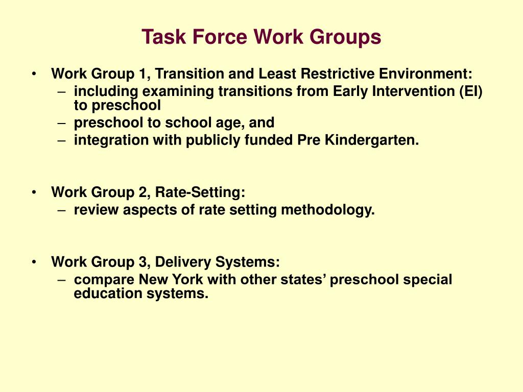 Task Force Work Groups