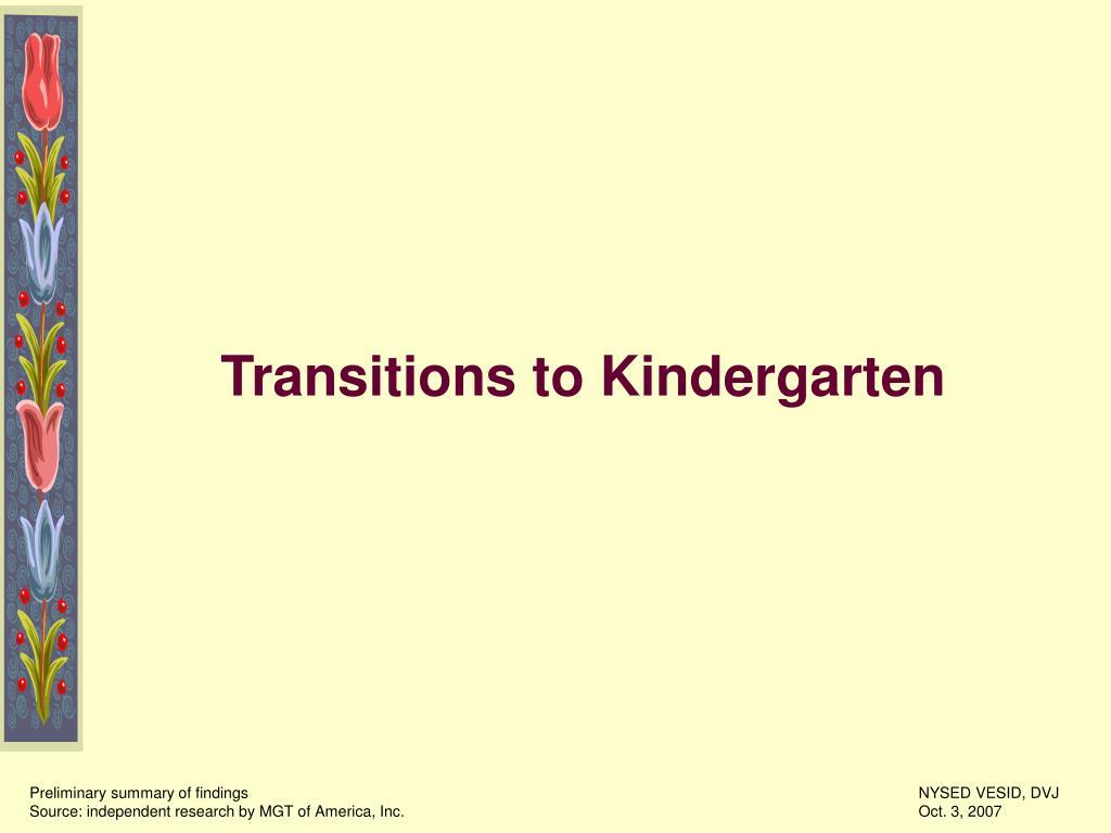 Transitions to Kindergarten