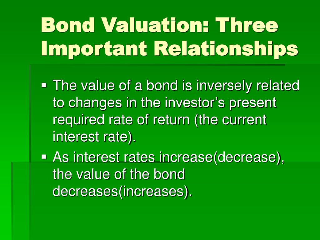 Bond Valuation: Three Important Relationships