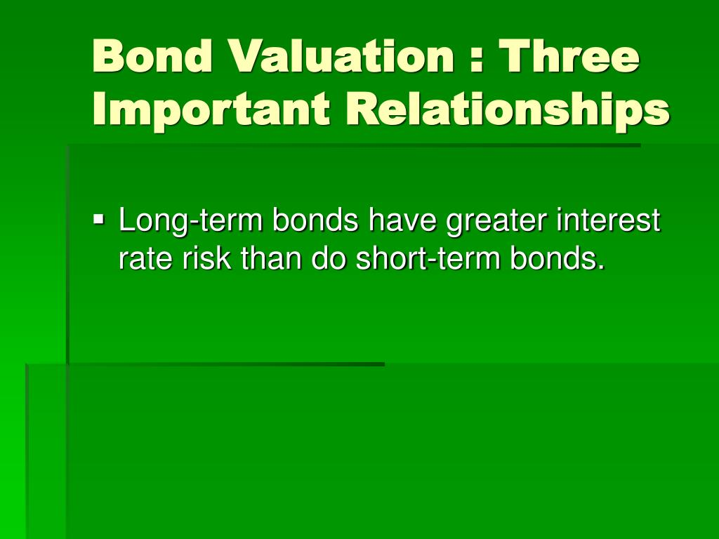 Bond Valuation : Three Important Relationships