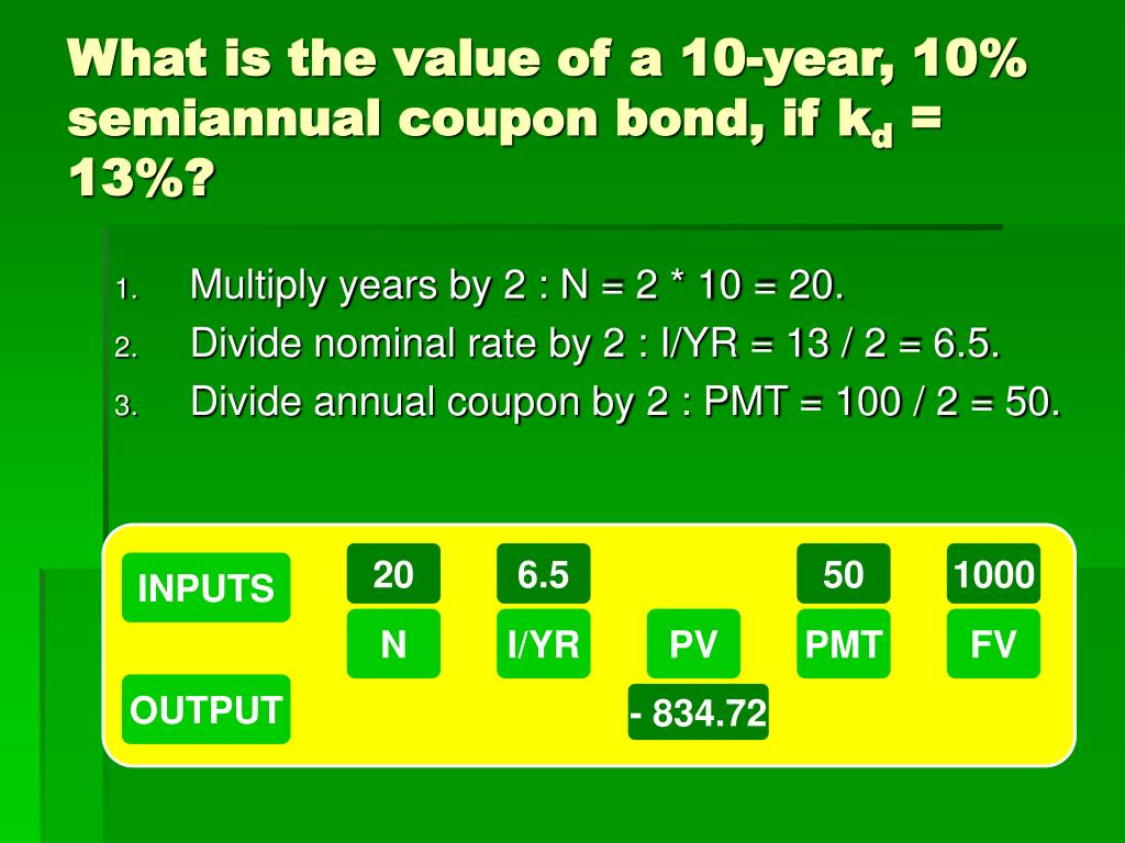 What is the value of a 10-year, 10% semiannual coupon bond, if k