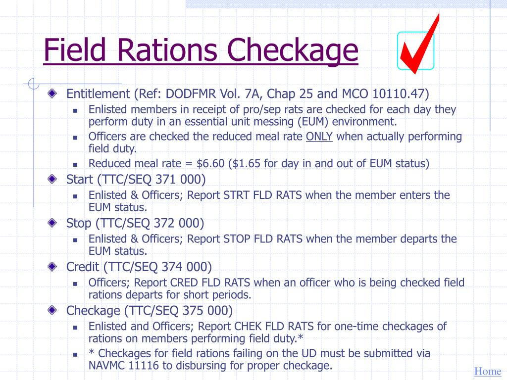 Field Rations Checkage