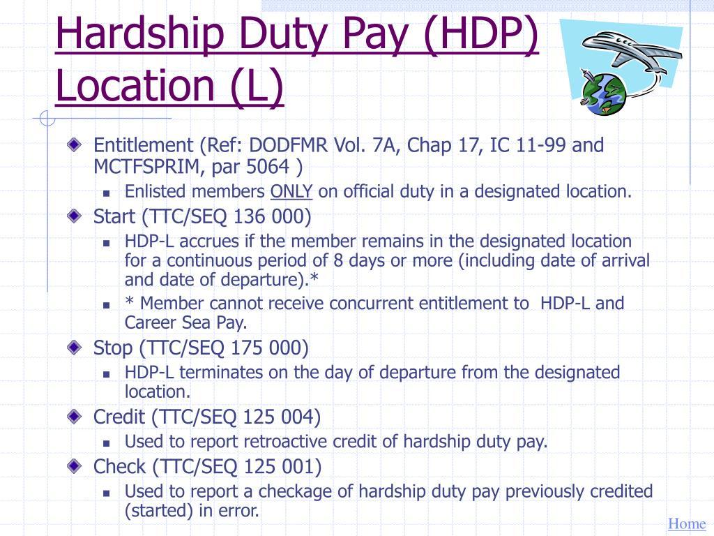 Hardship Duty Pay (HDP) Location (L)
