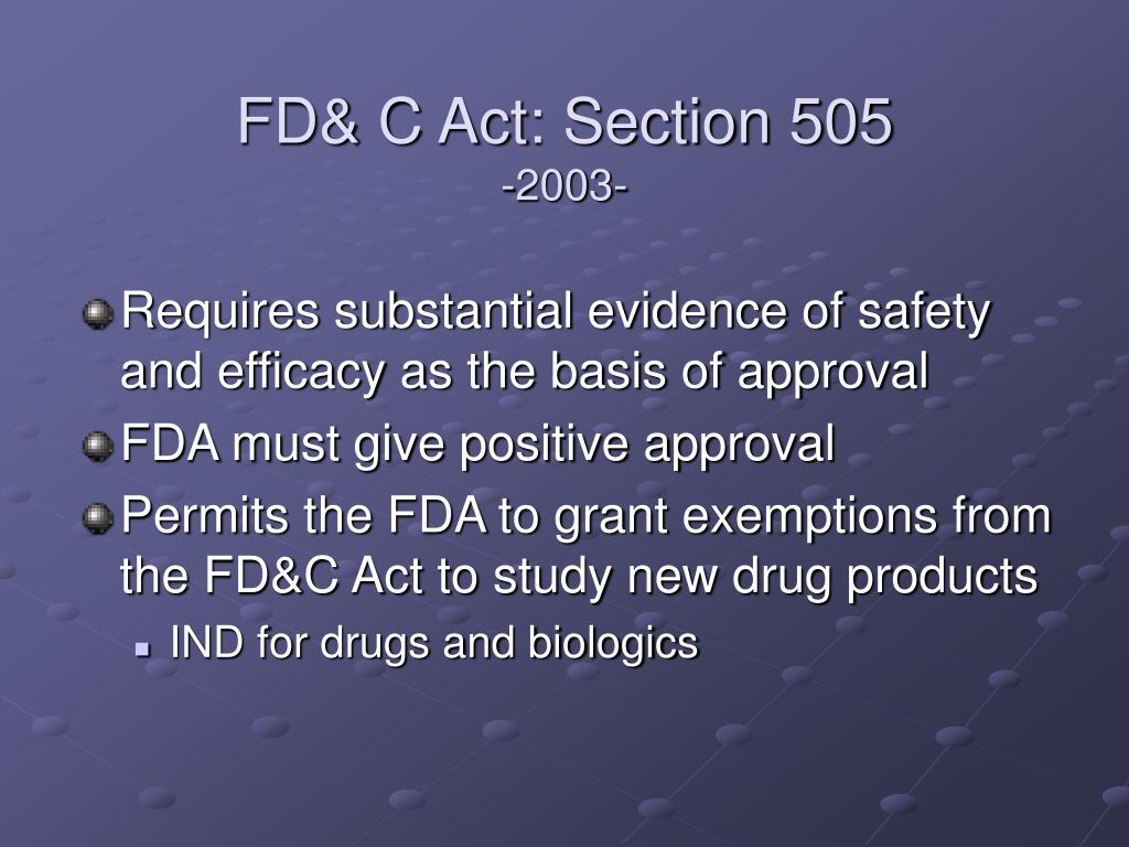 FD& C Act: Section 505