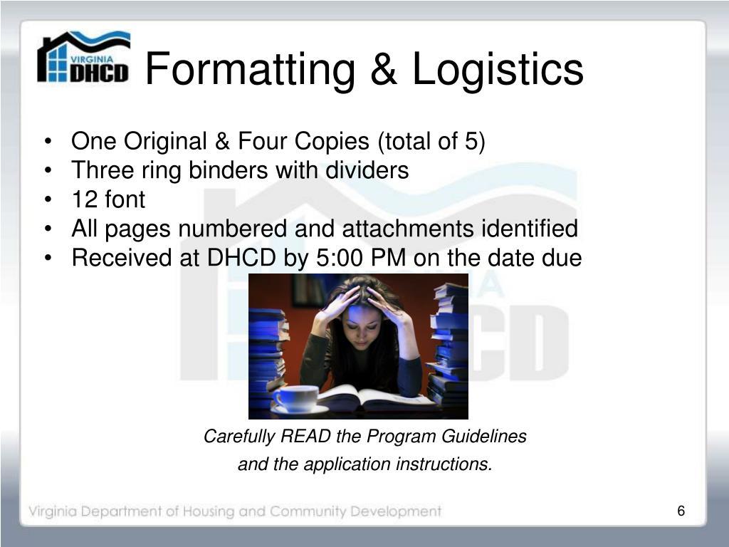 Formatting & Logistics