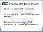 local match requirement
