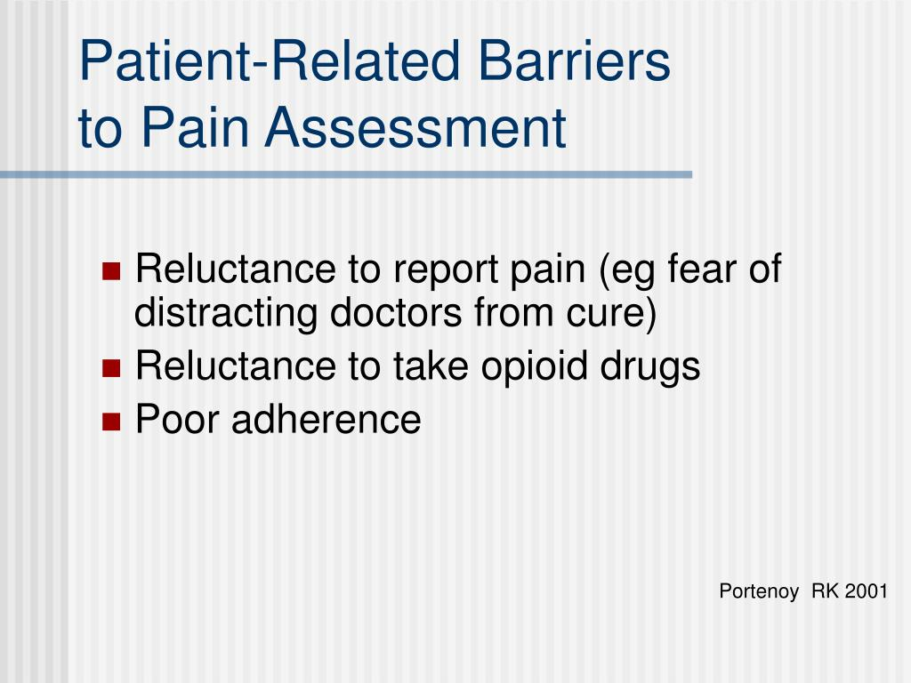 Patient-Related Barriers                                     to Pain Assessment