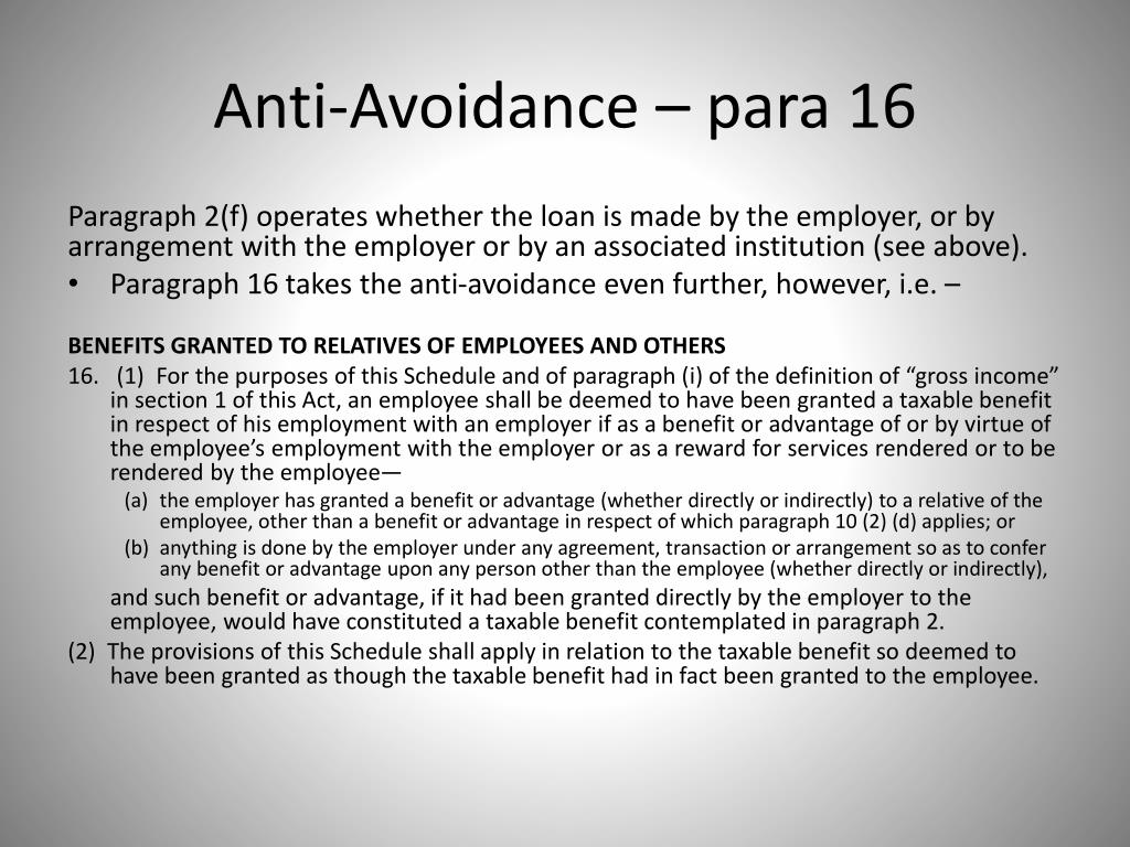Anti-Avoidance – para 16