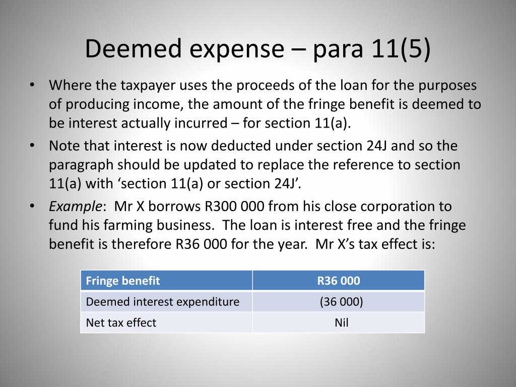 Deemed expense – para 11(5)