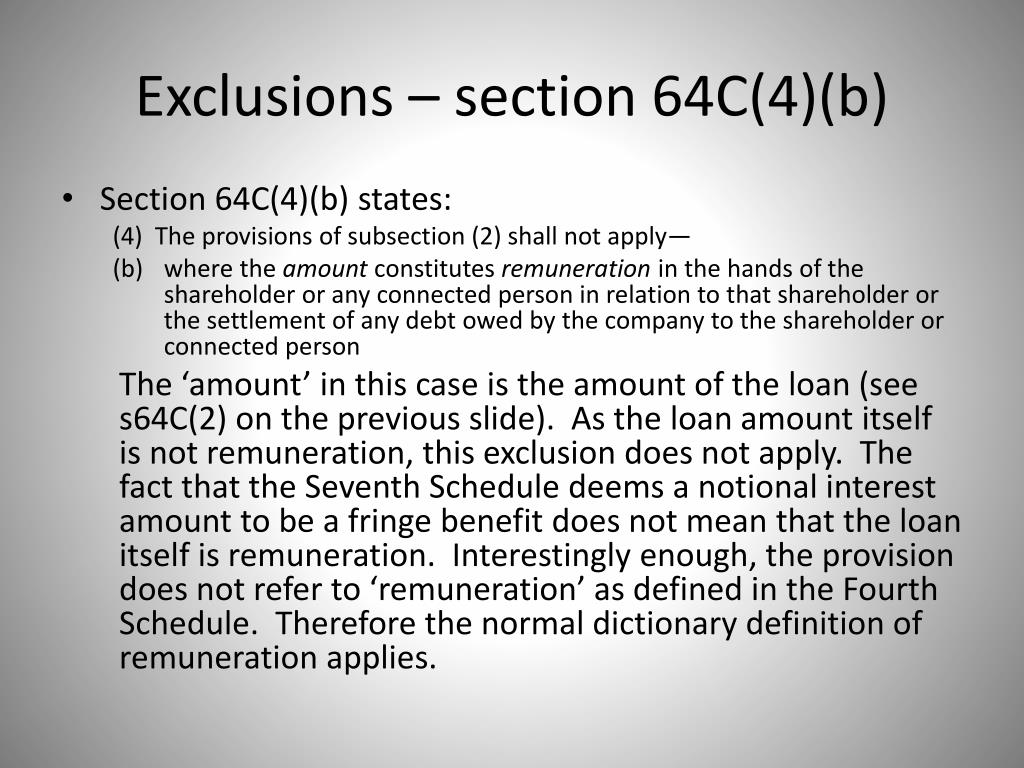 Exclusions – section 64C(4)(b)