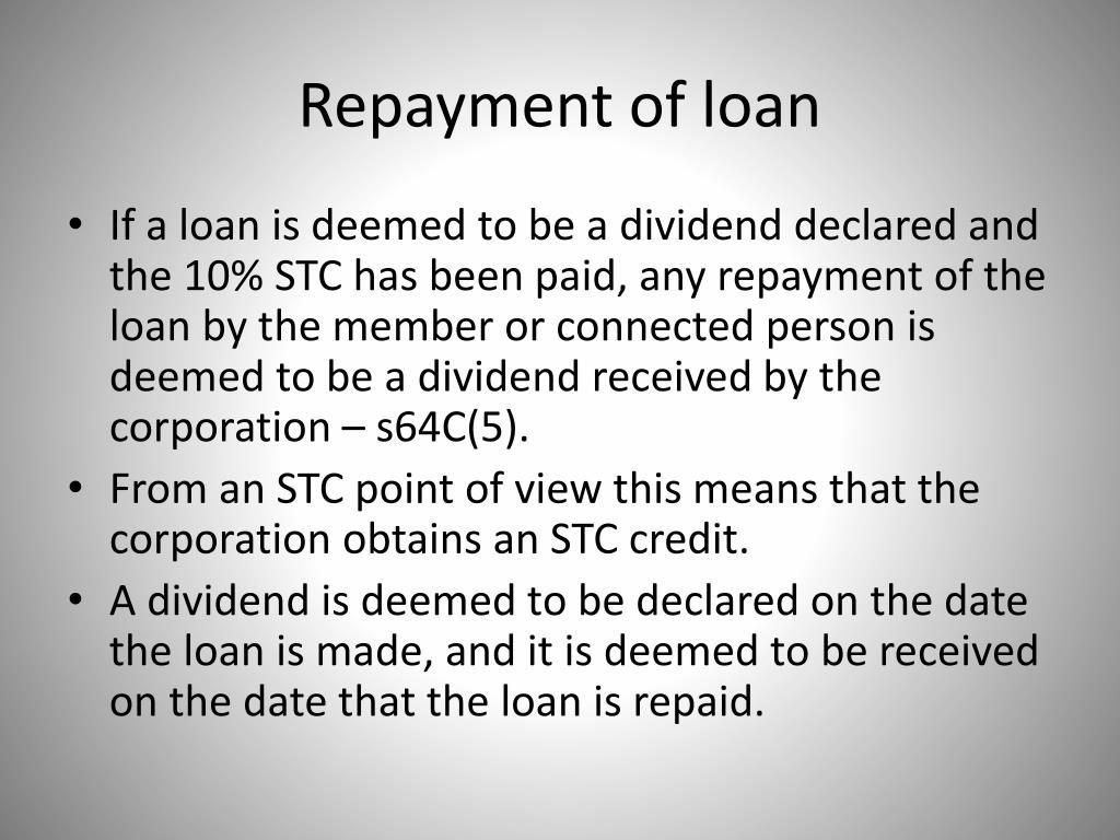 Repayment of loan