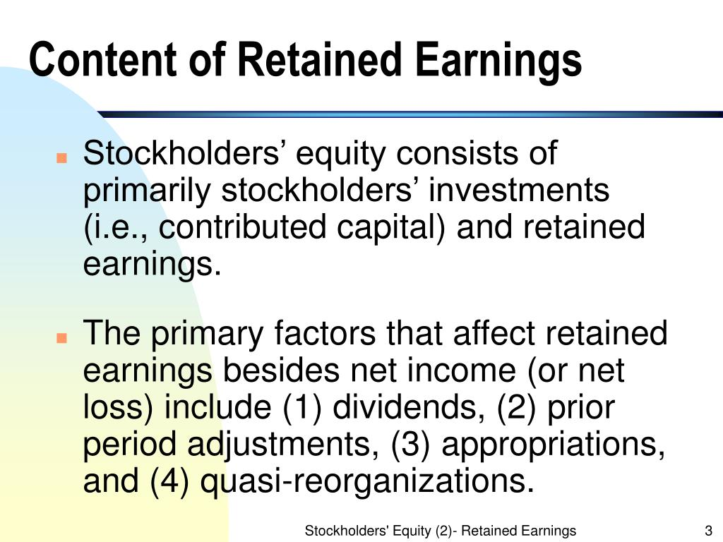 Content of Retained Earnings