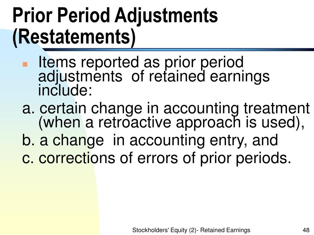 Prior Period Adjustments (Restatements)