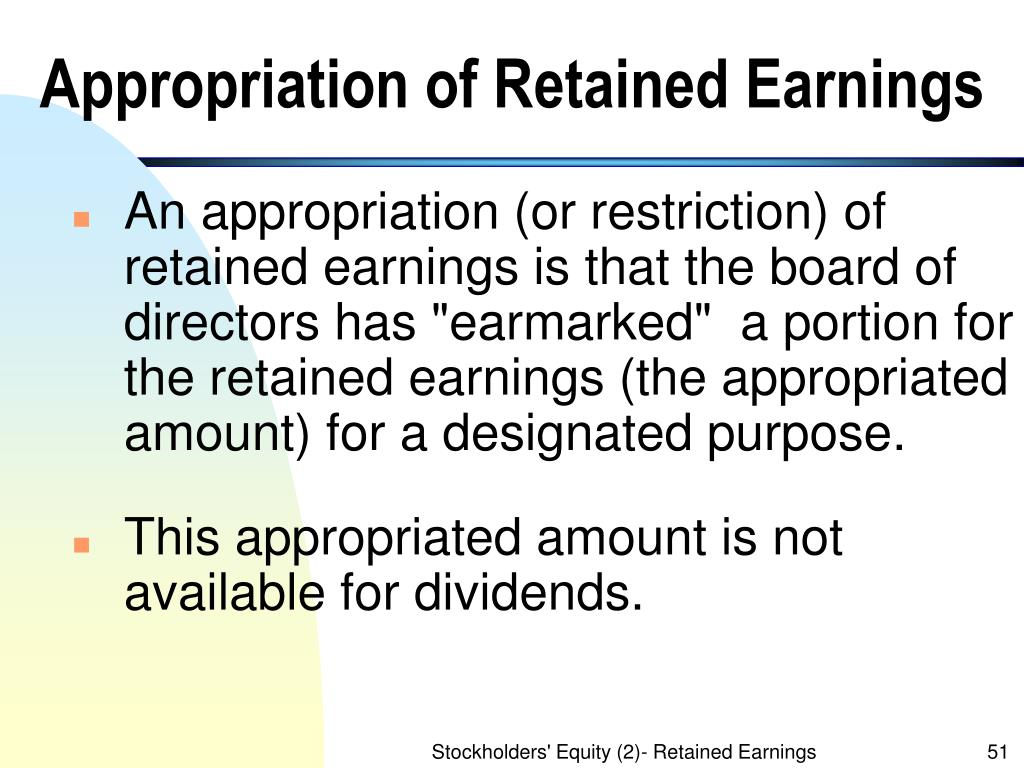 Appropriation of Retained Earnings