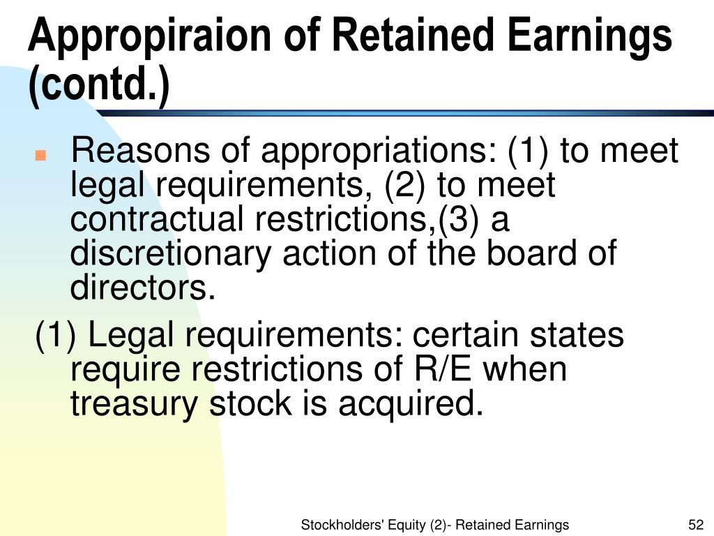 Appropiraion of Retained Earnings