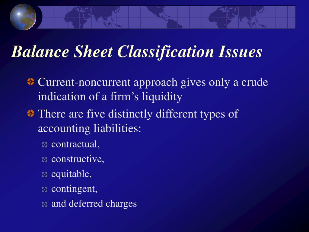 Balance Sheet Classification Issues
