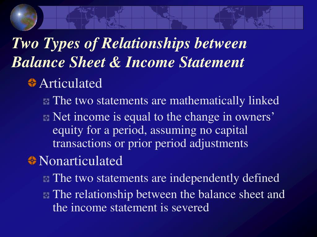 Two Types of Relationships between Balance Sheet & Income Statement
