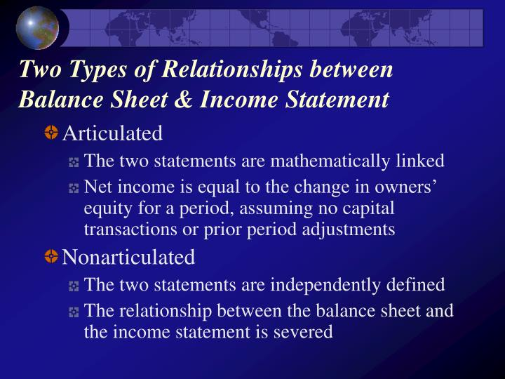 Two types of relationships between balance sheet income statement