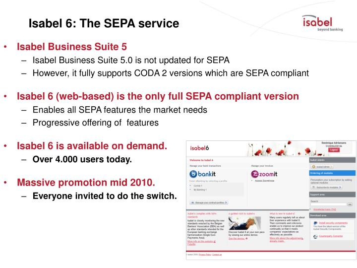 Isabel 6 the sepa service