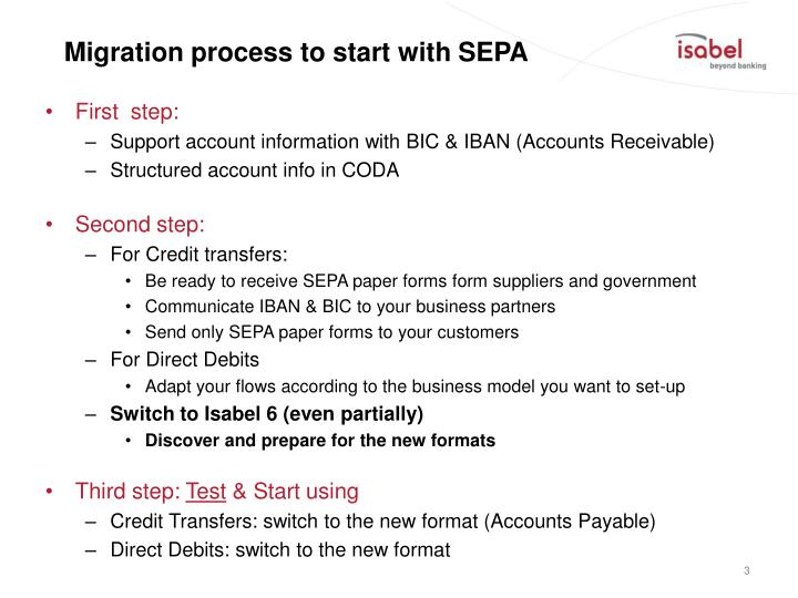 Migration process to start with sepa