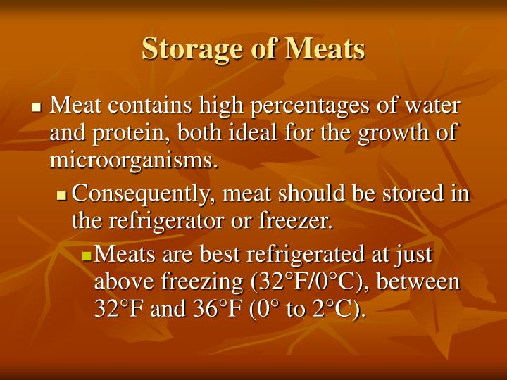 Storage of Meats
