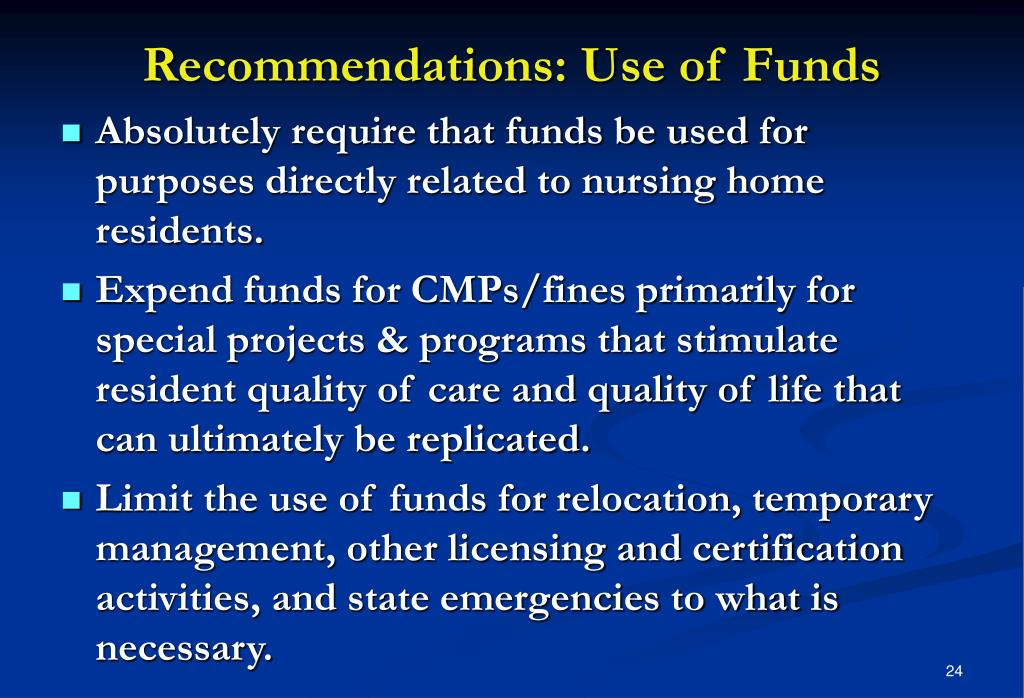 Recommendations: Use of Funds