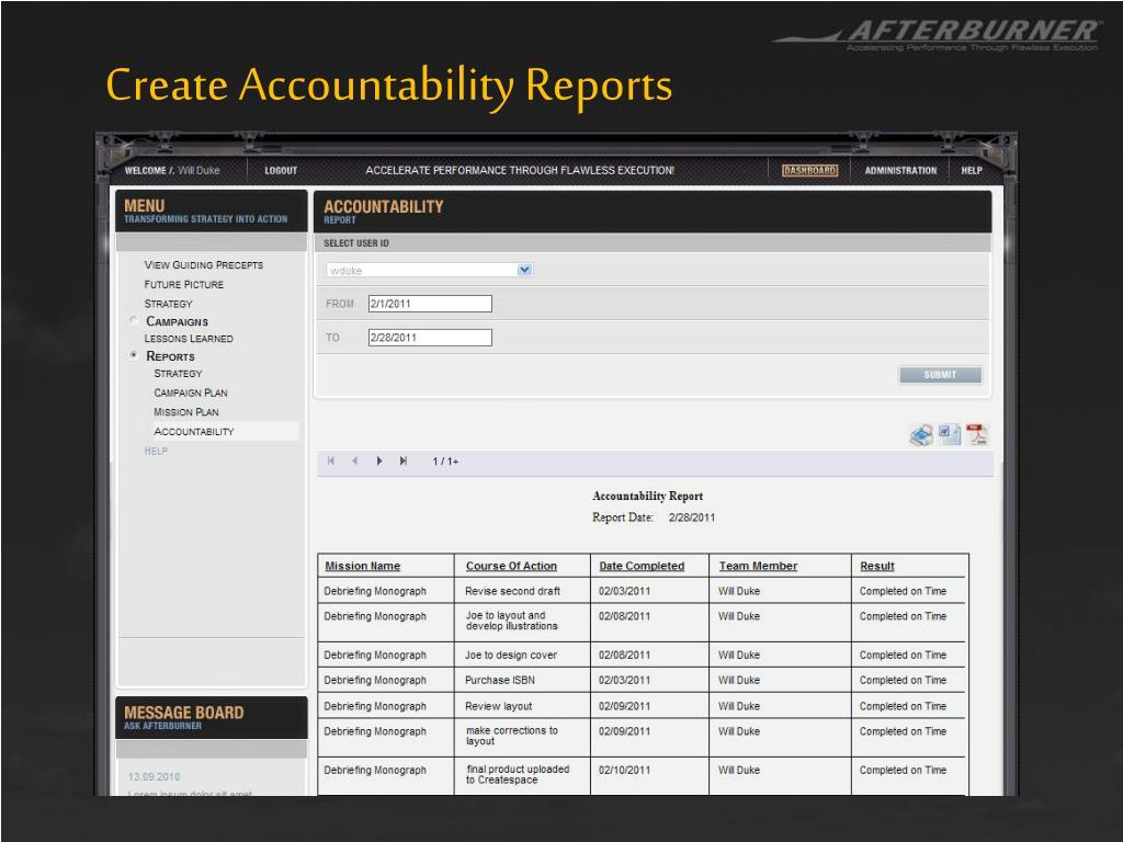 Create Accountability Reports