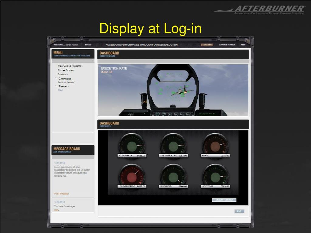 Display at Log-in